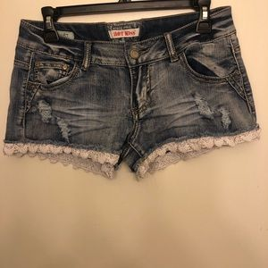 Low rise jean shorts with lace hem